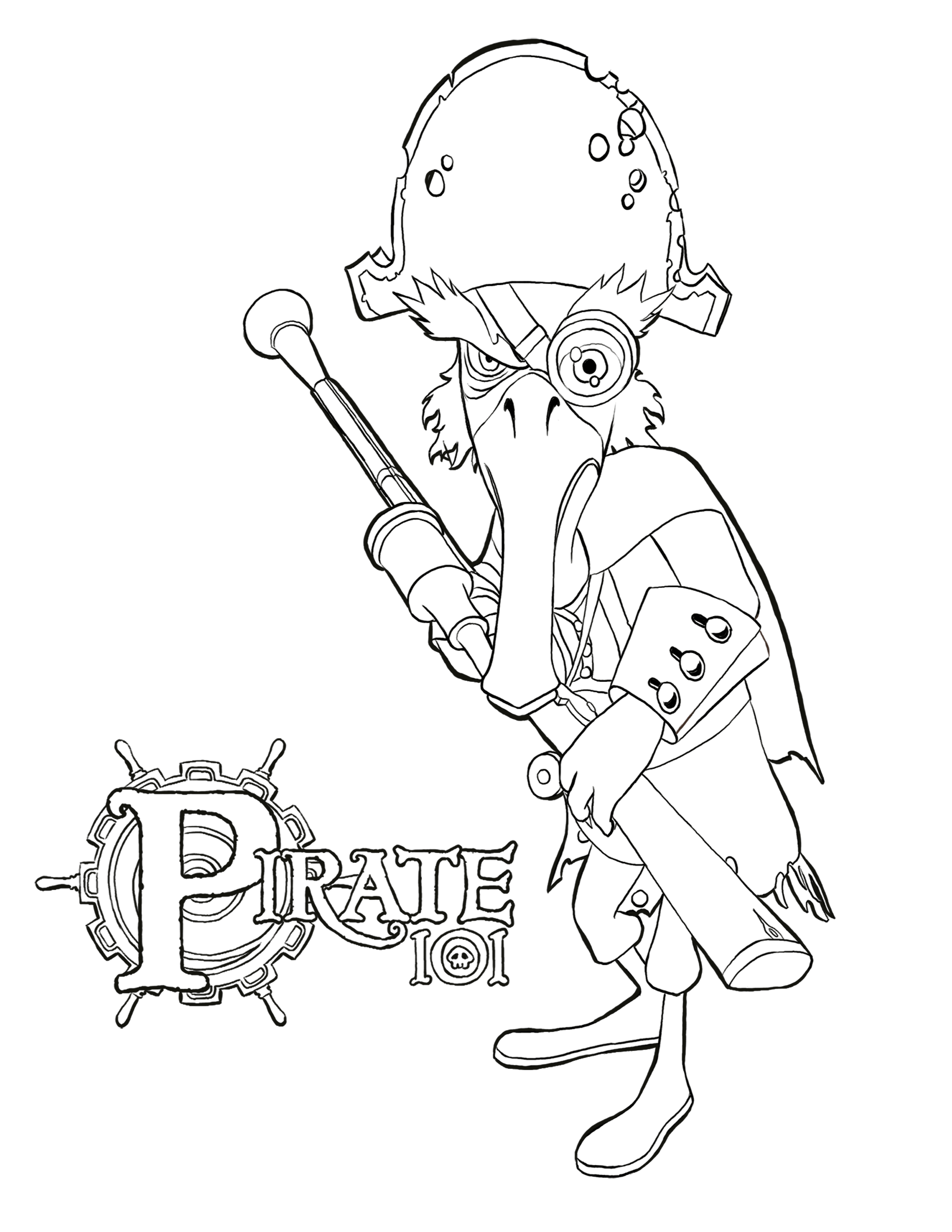 Pirate colouring pages to print - Download Ol Fish Eye Coloring Page