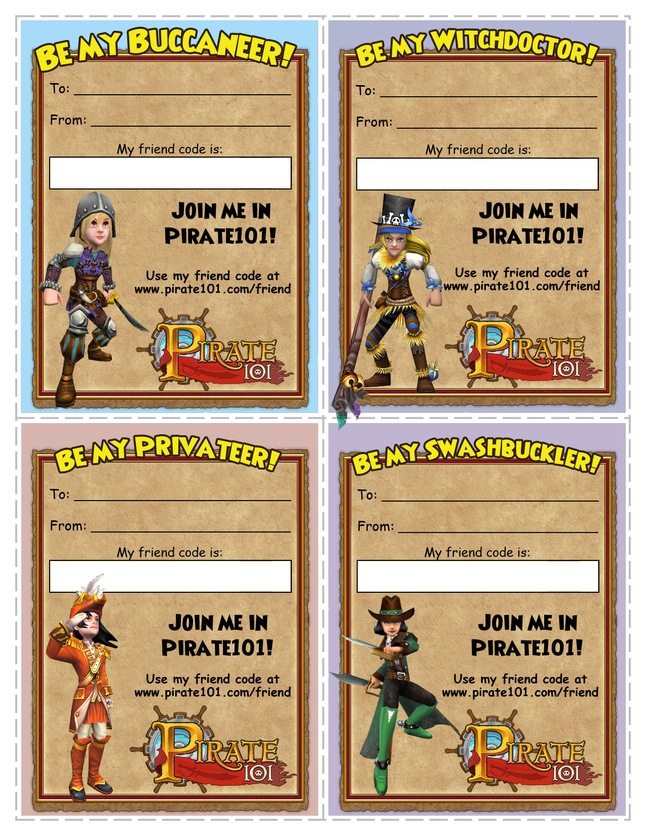 Pirate Printable Valentines | Pirate101 Free Online Game