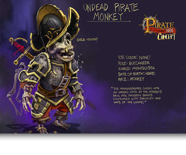 Undead Pirate Monkey Concept Art