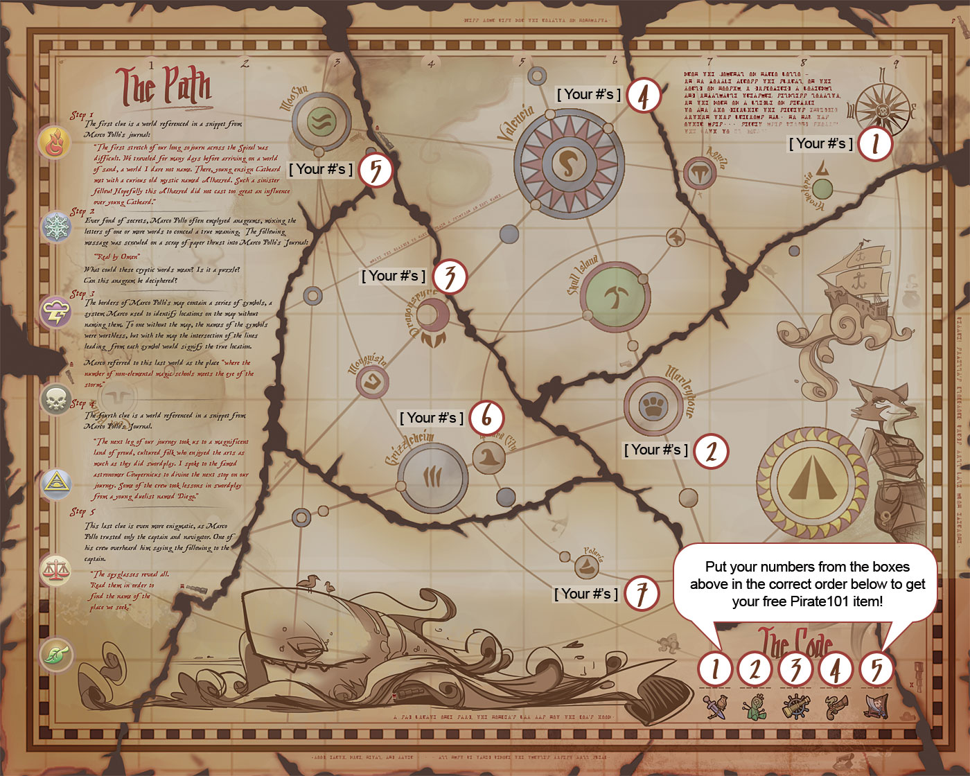 Treasure map answers pirate101 free online game click the image below to view a high rez version of how to reveal the secret code on your map gumiabroncs Images